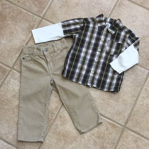Carter's Boys LS Button Down Plaid Shirt & Cords